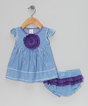 Royal Stripe Ruffle Rosette Dress & Diaper Cover - Infant