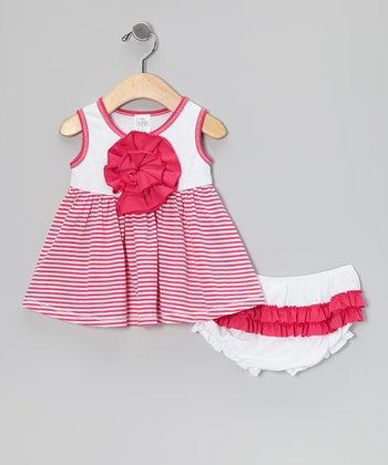 Fuchsia Stripe Peony Dress & Ruffle Diaper Cover - Infant