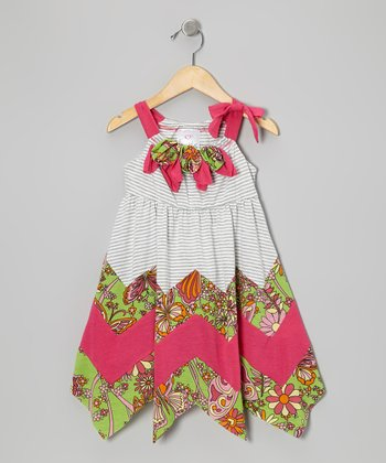Gray & Pink Zigzag Dress - Toddler & Girls