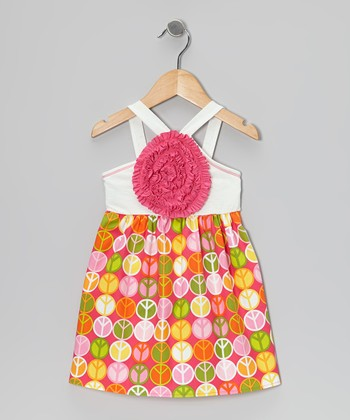 Ivory & Fuchsia Peace Blooming Rose Dress - Toddler