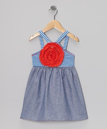 Royal Blue & Gray Stripe Blooming Rose Dress - Girls