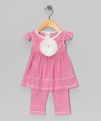 Fuchsia Stripe Rosette Tunic & Leggings - Infant, Toddler & Girls