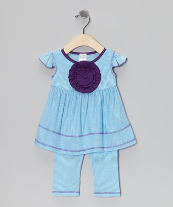 Turquoise Stripe Rosette Tunic & Leggings - Infant, Toddler & Girls