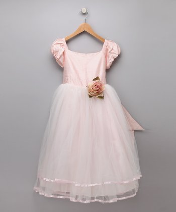 Light Pink Organza Silk Flower Dress - Girls