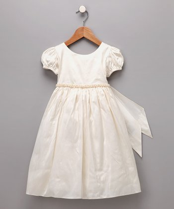Ivory Beaded Silk Dress - Infant & Toddler