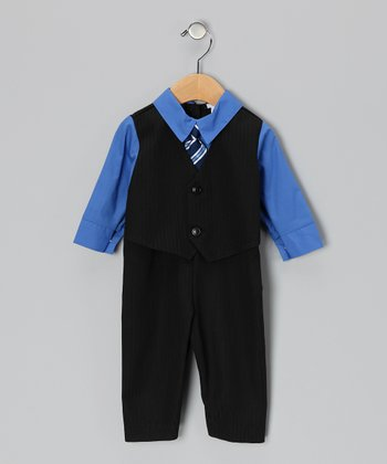 Navy & Bright Blue Suit Bodysuit - Infant