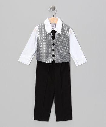 Silver & Black Vest Set - Infant & Boys