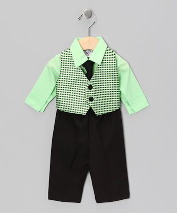 Light Lime & Black Vest Set - Infant