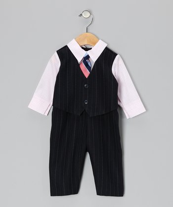 Navy & Pink Suit Bodysuit - Infant