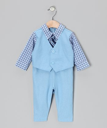 Light Blue Checkerboard Suit Bodysuit - Infant