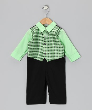 Lime & Black Suit Bodysuit - Infant