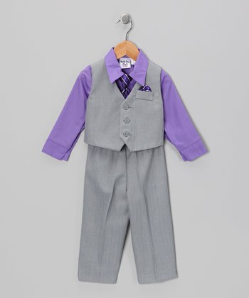Gray & Iris Vest Set - Boys