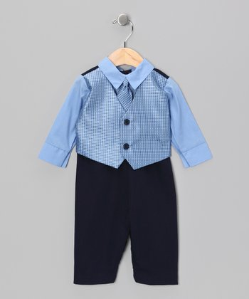 Blue & Navy Suit Bodysuit - Infant