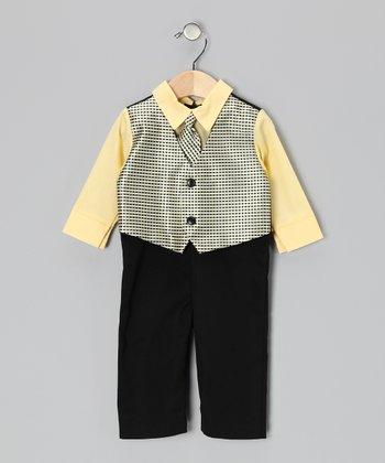Yellow & Black Suit Bodysuit - Infant