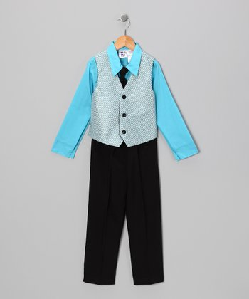 Blue & Black Vest Set - Boys