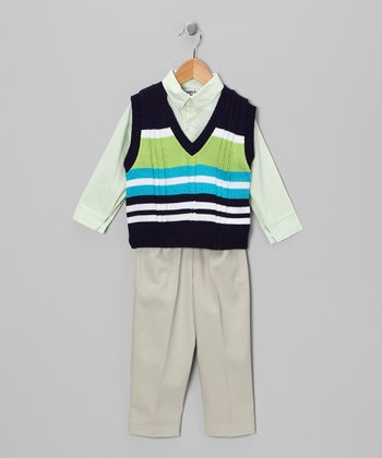 Navy & Lime Stripe Sweater Set - Toddler