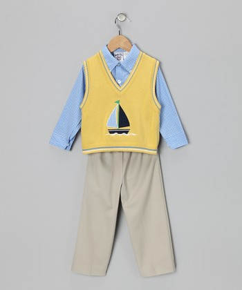 Yellow & Blue Sailboat Sweater Set - Toddler