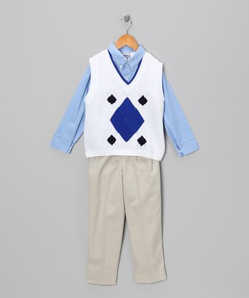 White & Navy Sweater Set - Boys