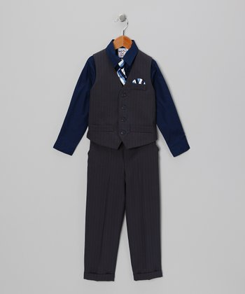 Black & Cobalt Vest Set - Boys