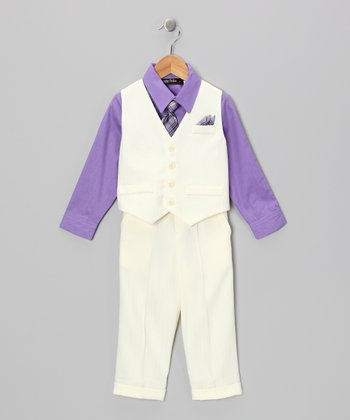 Cream & Iris Vest Set - Boys