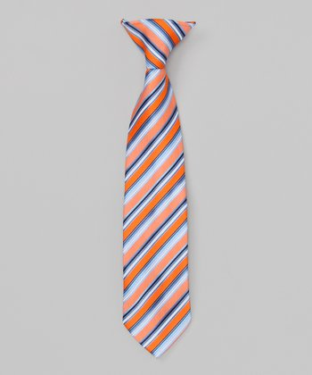 Orange & Blue Stripe Clip-On Tie
