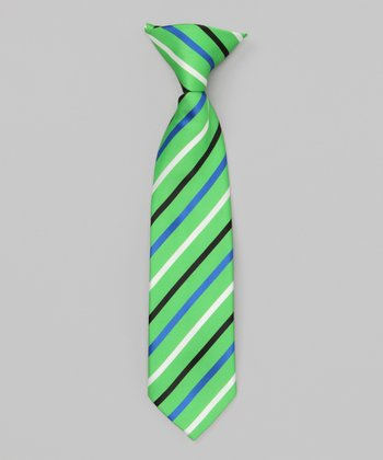 Green & Blue Stripe Clip-On Tie