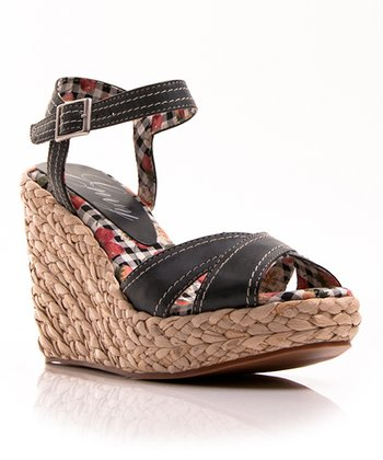 Black Apple Pie Wedge Sandal