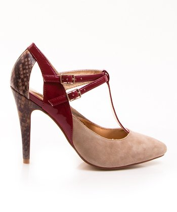 Beige & Red Snakeskin Beta T-Strap Pump