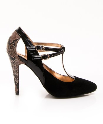 Black Snakeskin Beta T-Strap Pump