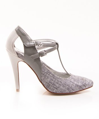 Gray & White Tweed Beta T-Strap Pump