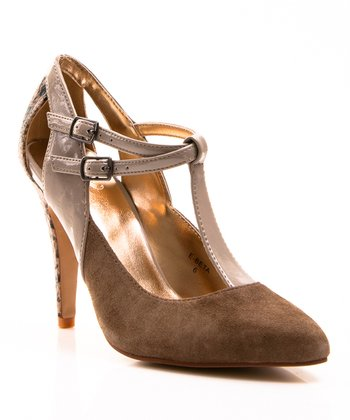 Taupe Beta T-Strap Pump