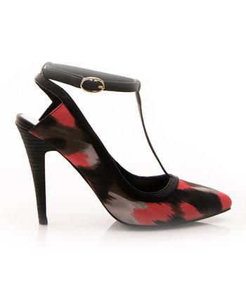 Black & Red Dame T-Strap Pump