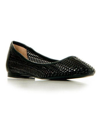 Black Leather Diamond Flat