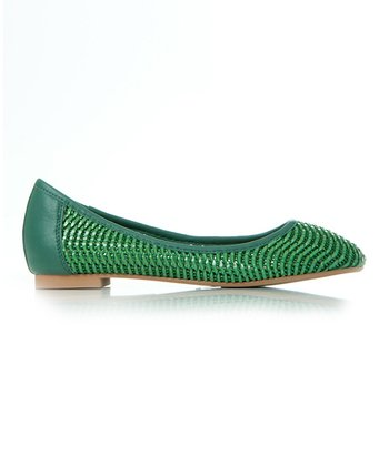 Green Leather Diamond Flat