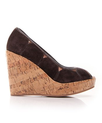 Brown Suede Mad House Peep-Toe Wedge