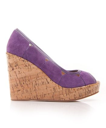 Purple Suede Mad House Peep-Toe Wedge