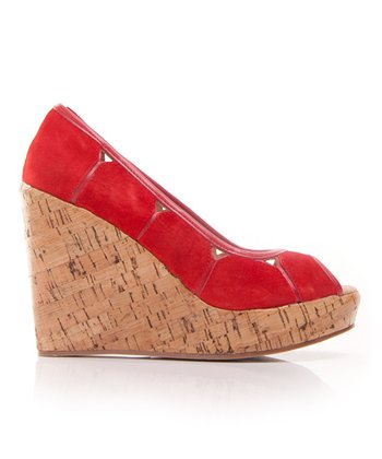 Red Suede Mad House Peep-Toe Wedge