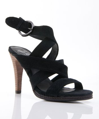 Black Suede Punch It Ankle-Strap Sandal