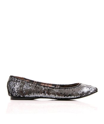 Black & Pewter Watermelon Sequin Flat