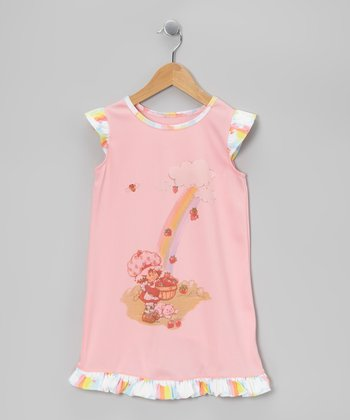 Pink Rainbow Strawberry Ruffle Gown - Toddler