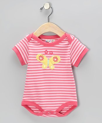 Pink Stripe Butterfly Bodysuit - Infant