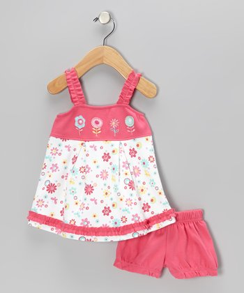 White & Pink Floral Ruffle Dress & Shorts - Infant