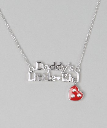 Silver & Red 'Daddy's Little Girl' Necklace