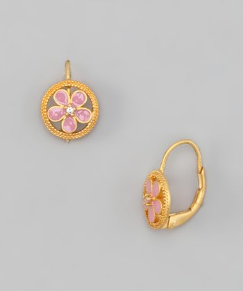 Gold & Pink Flower Circle Earrings