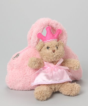 Pink Princess Satchel & Teddy Bear Plush Toy