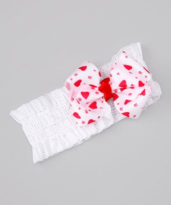 White & Red Crochet Heart Headband