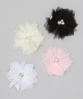 Neutral Pearl & Rhinestone Tulle Flower Clip Set