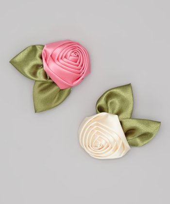 Ivory & Bubble Gum Pink Satin Rosette Clip Set