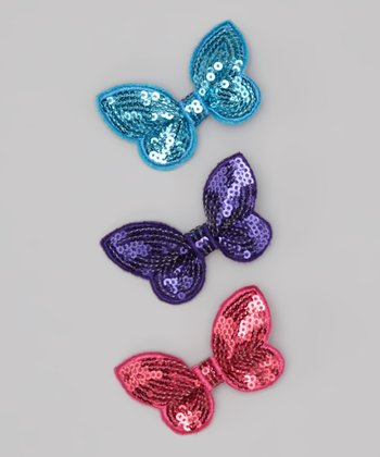 Blue & Purple Sequin Butterfly Clip Set
