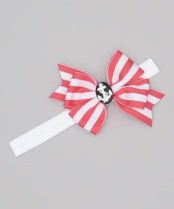 Hot Pink & White Stripe Nautical Bow Headband